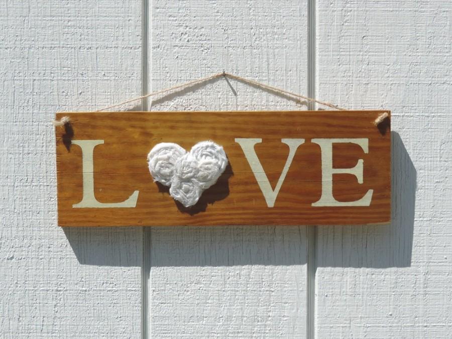 "Свадьба - Love  16"" x 5 1/2 Rustic Wedding ~ Rustic Sign ~  Reclaimed Wood Signs -"