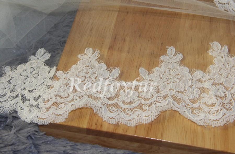 Свадьба - Wedding Veil, Bridal Veil, cathedral veil, Alencon Lace veil 3 meters veil, white veil, ivory veil, simple lace veil