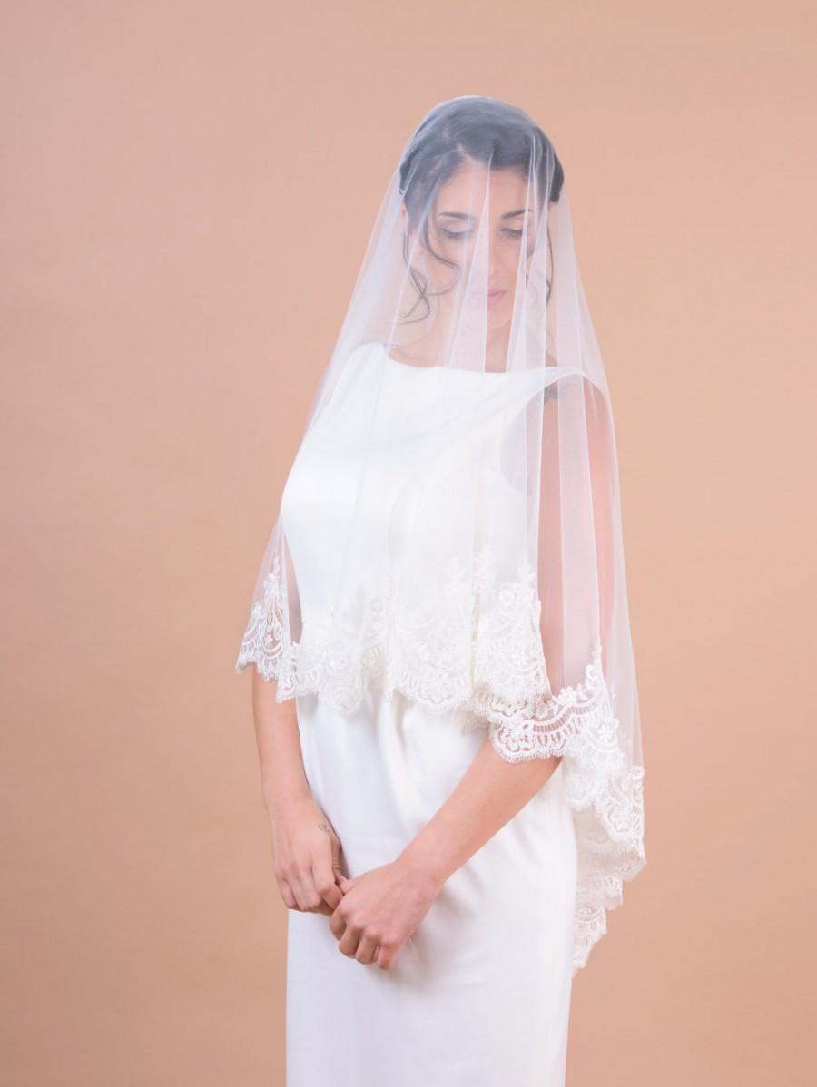 Hochzeit - LACE bridal veil, two layer veil with blusher, circular cut veil, wedding bridal veil, scallop shaped wide lace trim,  drop veil