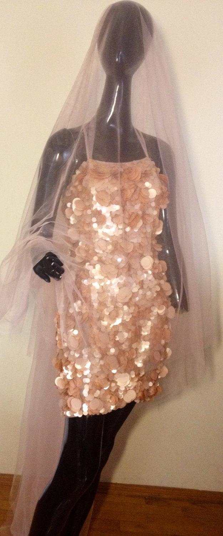 Свадьба - Powder Blush Pink Wedding veil Cathedral colorful veil. Wedding Veil bridal veil, soft tulle veil