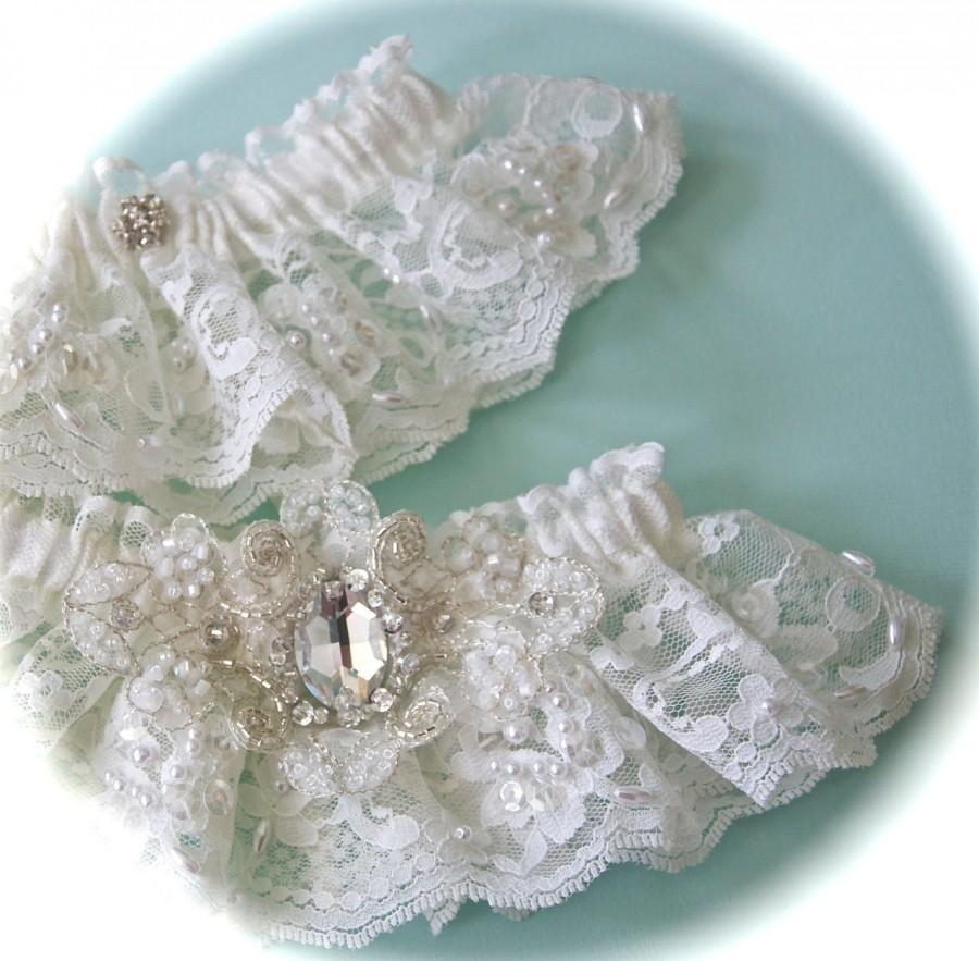 Свадьба - Bride Garter Set in Imported French Chantilly Lace with Austrian Swarovski Crystals Centered Embellishments