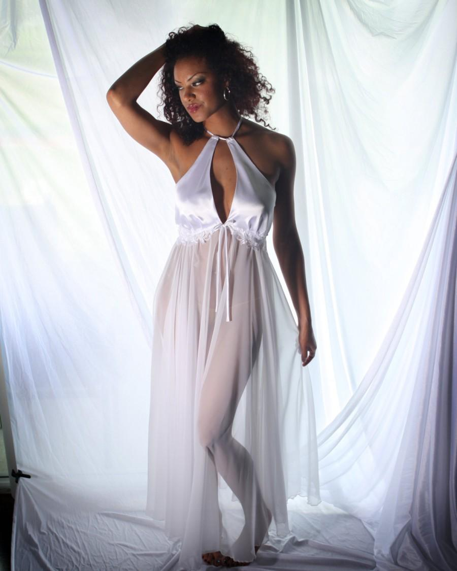 Sheer Bridal Nightgown Wedding Trousseau Negligee With Lace Trim White Halter Bodice Honeymoon Sleepwear