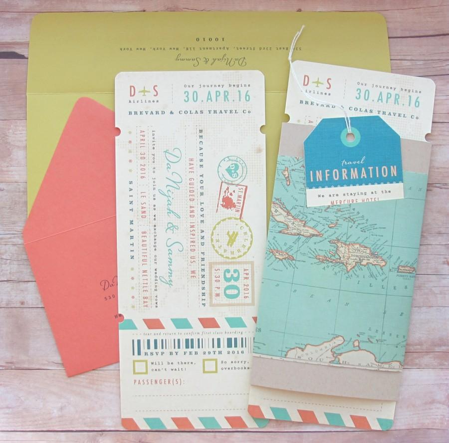 Boarding Pass Ticket Wrap Enclosure Invitation With Luggage Tag ...