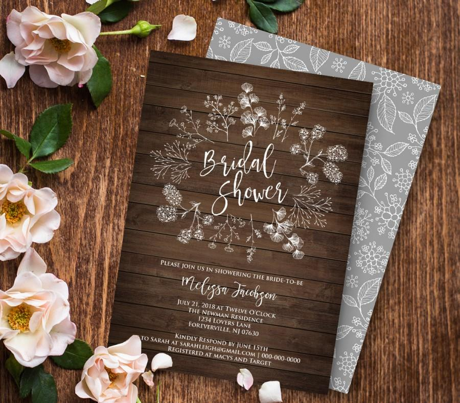 Mariage - Bridal Shower Invitation Printable, DIY Rustic Wood Wreath Wedding Shower Invite, Instant Download, Digital, Editable PDF Template #018