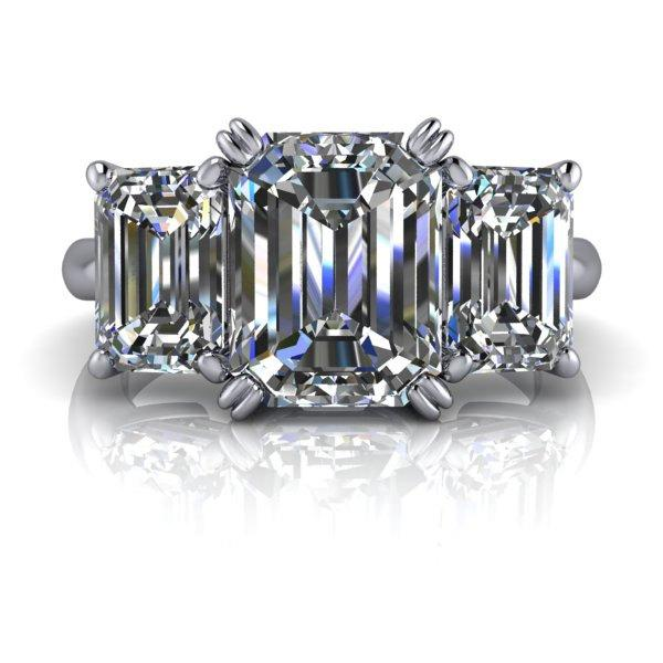Свадьба - Moissanite Engagement Three Stone Emerald Cut 4.5 CTW