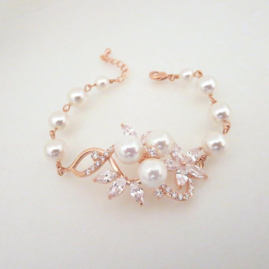 Свадьба - Rose Gold bracelet, Crystal Wedding bracelet, Pearl Bridal bracelet, Wedding jewelry, Pearl bracelet, Swarovski bracelet, MIA