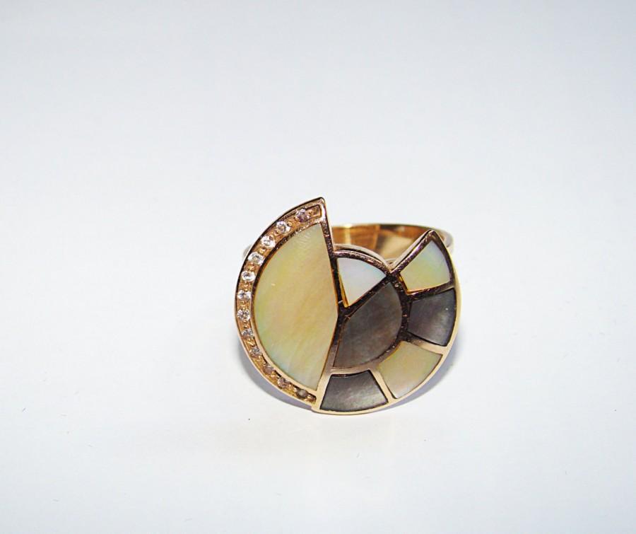 Свадьба - Vintage 14k Engagement  Mother of Pearl 585 Pink Rose 14K GOLD Ring SIZE 7.5. Gold  Ring 14k (585) Rose Gold Mother of Pearl Cubic Zirconia