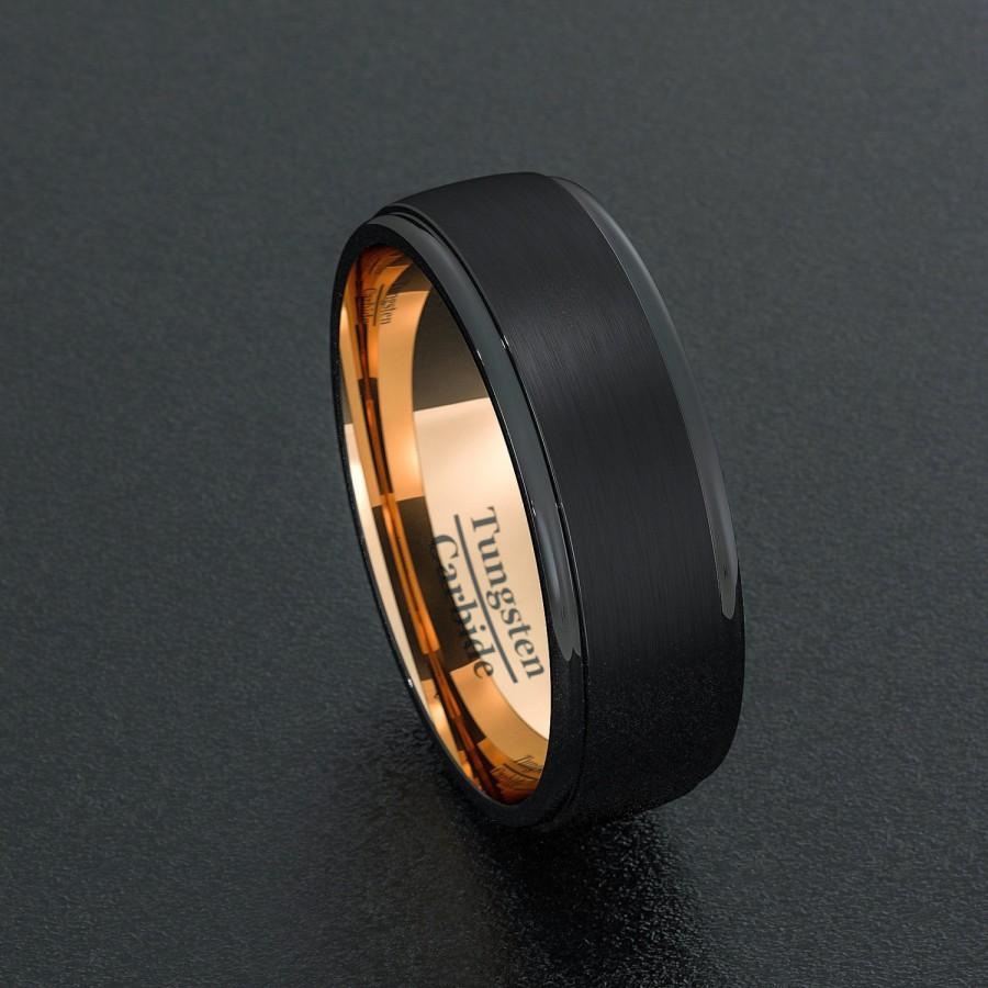 Свадьба - Mens Wedding Band Tungsten Ring Two Tone 8mm Black Brushed Step Edge Rose Gold Inner Comfort Fit