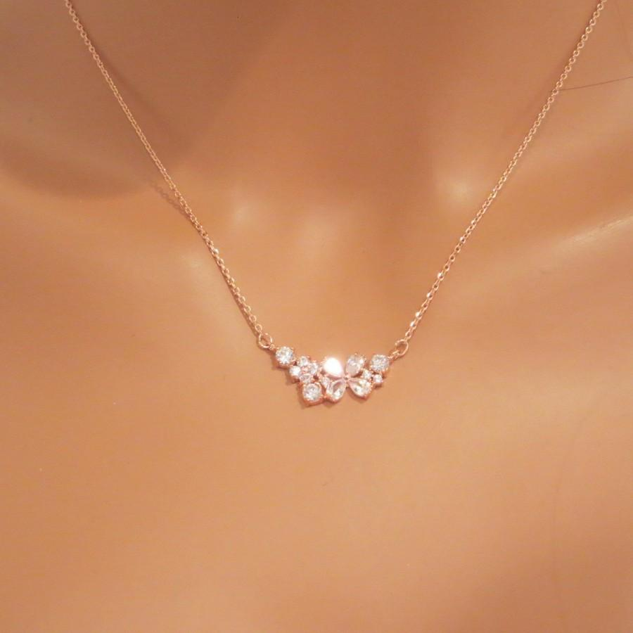 Simple Rose Gold Necklace Bridal Necklace Bridesmaid Necklace