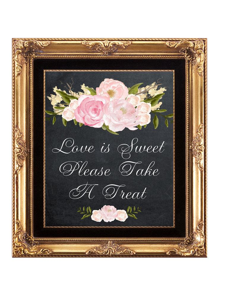 Hochzeit - printable candy buffet sign, printable chalkboard wedding sign, love is sweet sign, take a treat sign, digital download wedding sign,  8x10