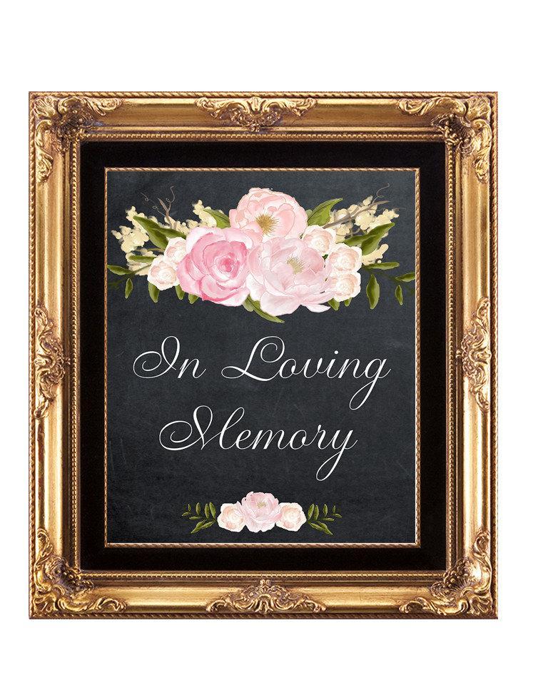 Hochzeit - in loving memory sign, heaven wedding sign, printable wedding sign, chalkboard wedding sign, memory wedding sign, 11x14, in loving memory
