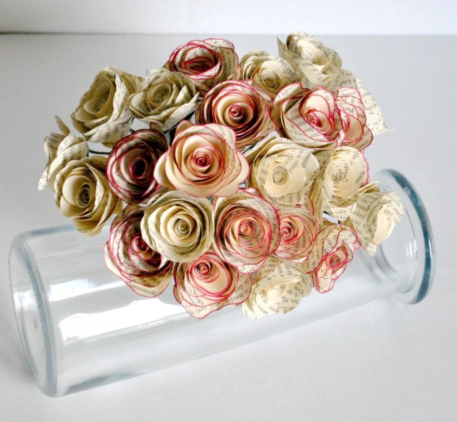زفاف - Two Dozen - 24 - Vintage Paper Flowers - Stemmed Paper Roses - Home or Party Decorations