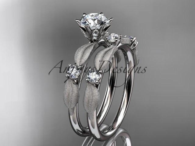 Свадьба - 14kt white gold diamond unique leaf and vine engagement ring,wedding ring ADER177S