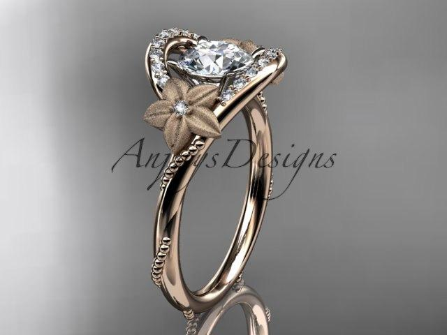 Mariage - 14kt rose gold diamond unique engagement ring, wedding ring ADLR166