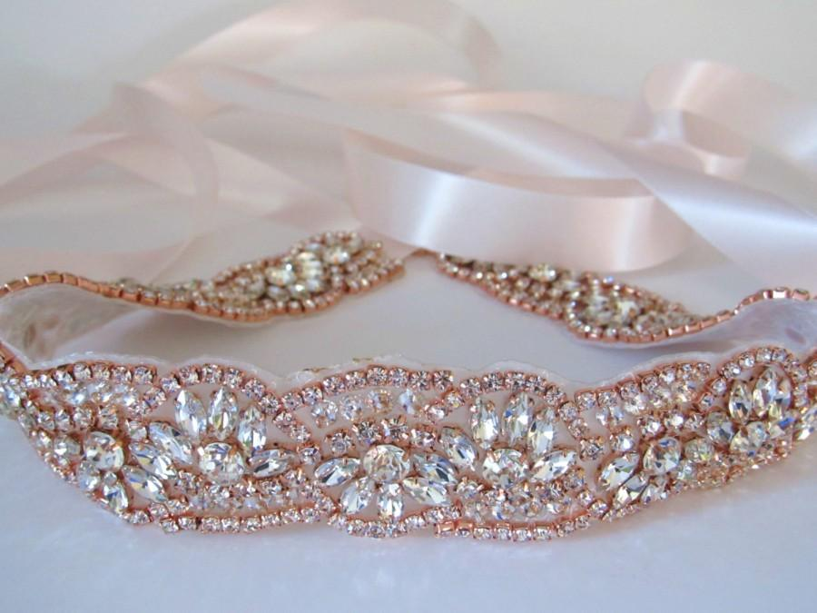 زفاف - ROSIE Rose Gold Crystal Rhinestone Diamante Belt Sash Bridal Occasion Prom * Any colour ribbon *