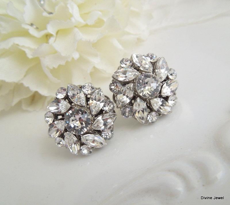 Bridal Earrings Crystal Rhinestone Stud Statement Wedding Bride Natalee
