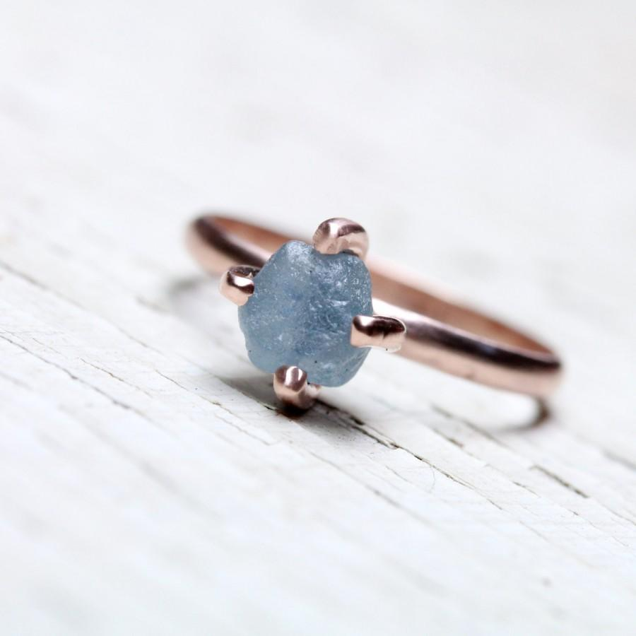 Blue Rough Montana Sapphire Engagement Ring 14k Rose Gold 4 Prong Setting  Delicate Minimalistic Raw Gemstone Her Bridal Band  Steel Tulip