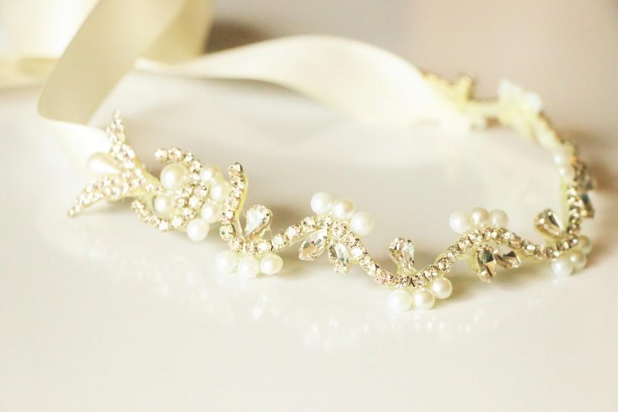 Mariage - Bridal hair vine , bridal headband, rhinestone wedding headband, flower headband, pearl headband, bridal headpiece,bridal accessory