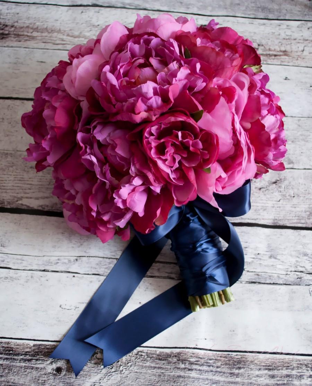 Hochzeit - Fuchsia and Navy Peony Wedding Bouquet