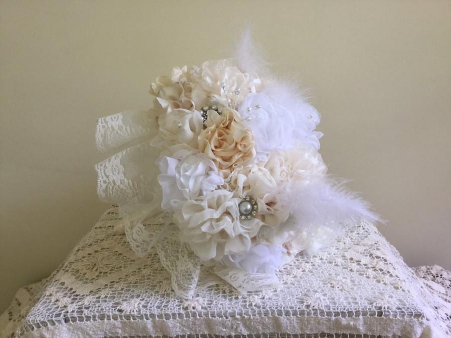 Hochzeit - Fabric Flower Bouquet - Wedding - Brooch - Bridal - Jewelry - Vintage - Bridesmaid,Fabric Flower,Lace,Pearls, Treasured Keepsake