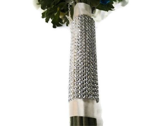 زفاف - Bridal Bouquet Wrap, Silver Bling Rhinestone  Wedding Flower Wrap, Floral Bouquet Silver Wrap