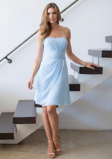 Свадьба - Strapless Ruched Blue Short Length Chiffon Sleeveless