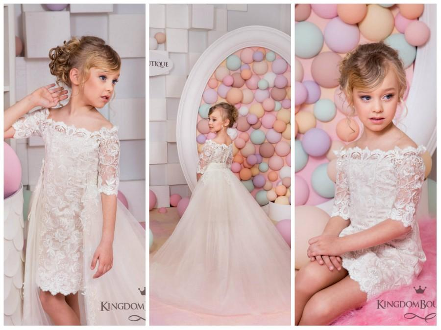 زفاف - Ivory Cappuccino Flower Girl Dress - Wedding Holiday Party Bridesmaid Birthday Flower Girl Cappuccino Ivory Tulle Lace Dress