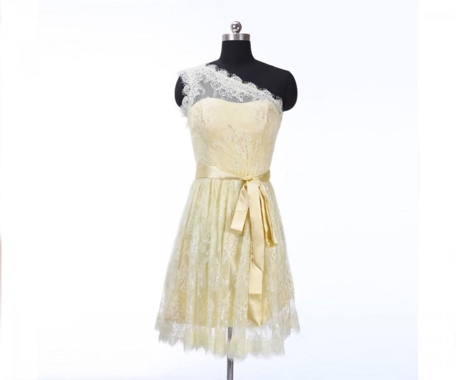 زفاف - Short Lace Bridesmaid Dress Daffodil Prom Dress Lace Homecoming Dress Ball Party Dress