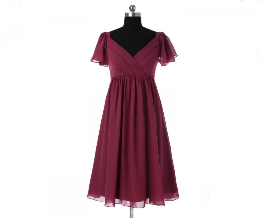 زفاف - Cap Sleeves Bridesmaid Dress Short Bridesmaid Dress Prom Dress Chiffon Dress Wedding Party