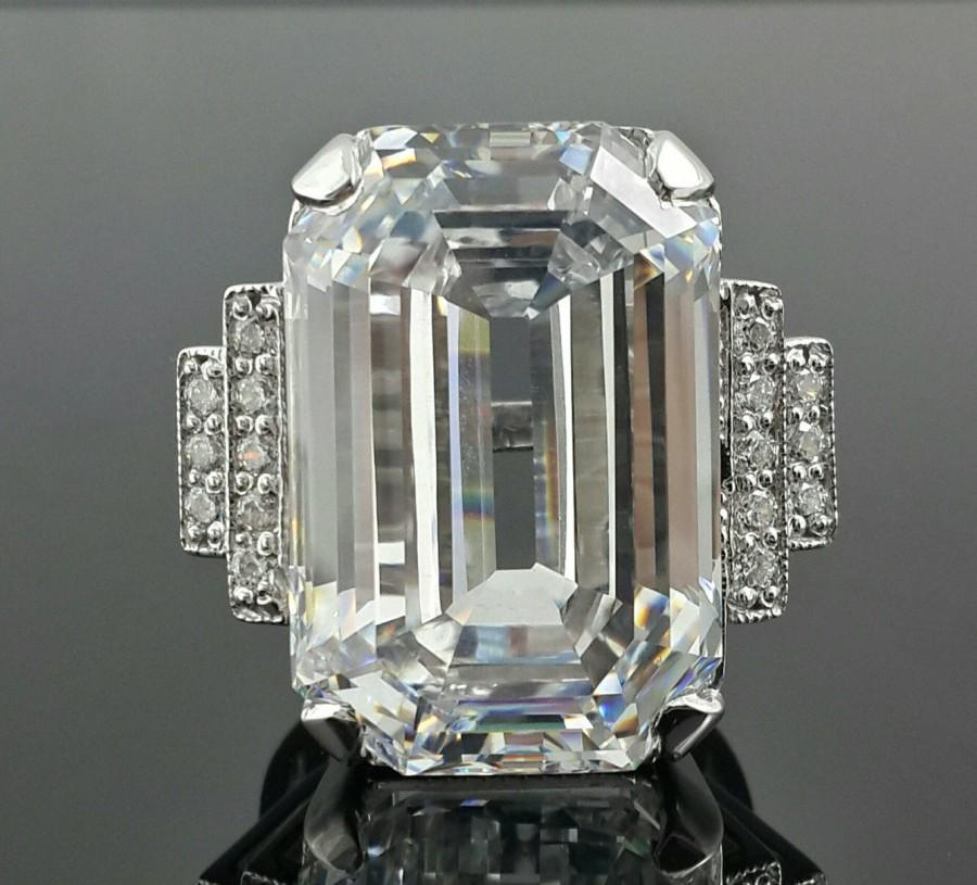 Wedding - Emerald cut sterling silver ring