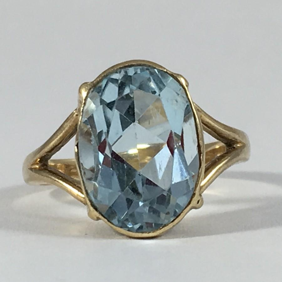 vintage blue topaz ring 14k yellow gold setting sky blue