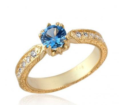 Mariage - Antique Style Blue Topaz 14k Gold Engagement Ring Blue Topaz Ring Topaz Engagement Ring Wedding Ring Anniversary Ring Something Blue