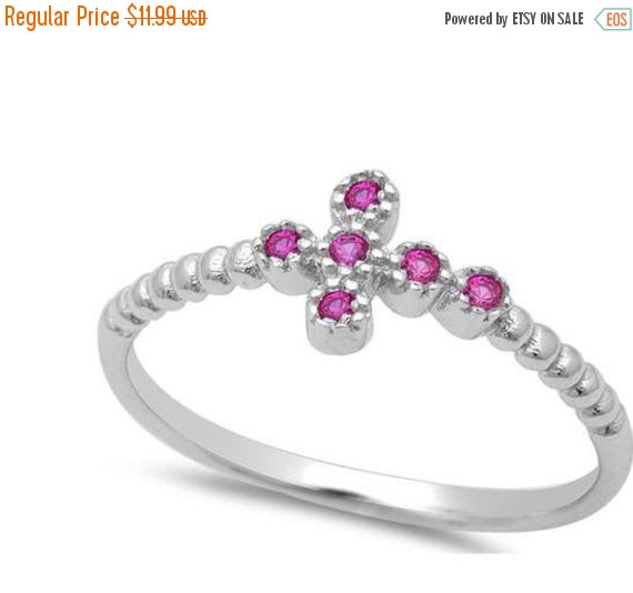 Wedding - Trendy Petite Dainty Sideways Cross Ring Round Red Ruby Solid 925 Sterling Silver Sideways cross ring religious gift