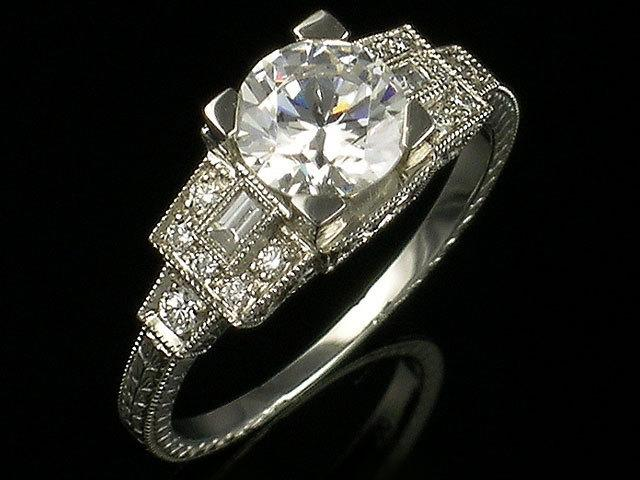 Mariage - Antique Inspired Gold or platinum and Diamond art Deco Style mill grained and engraved semi mount engagement, Setting Only,for 6.5 mm Round