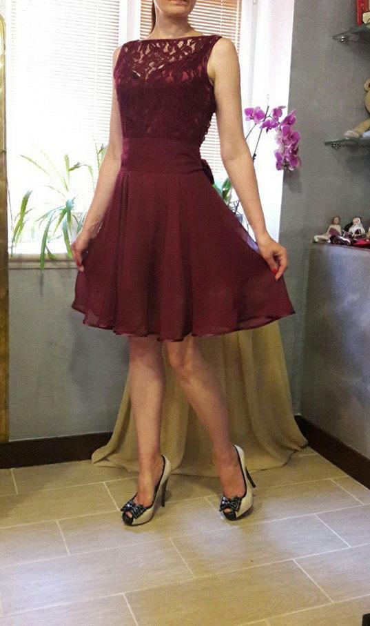 Cocktail Dress,Lace Dress,Maroon Dress,Dress Knee Length,Summer ...