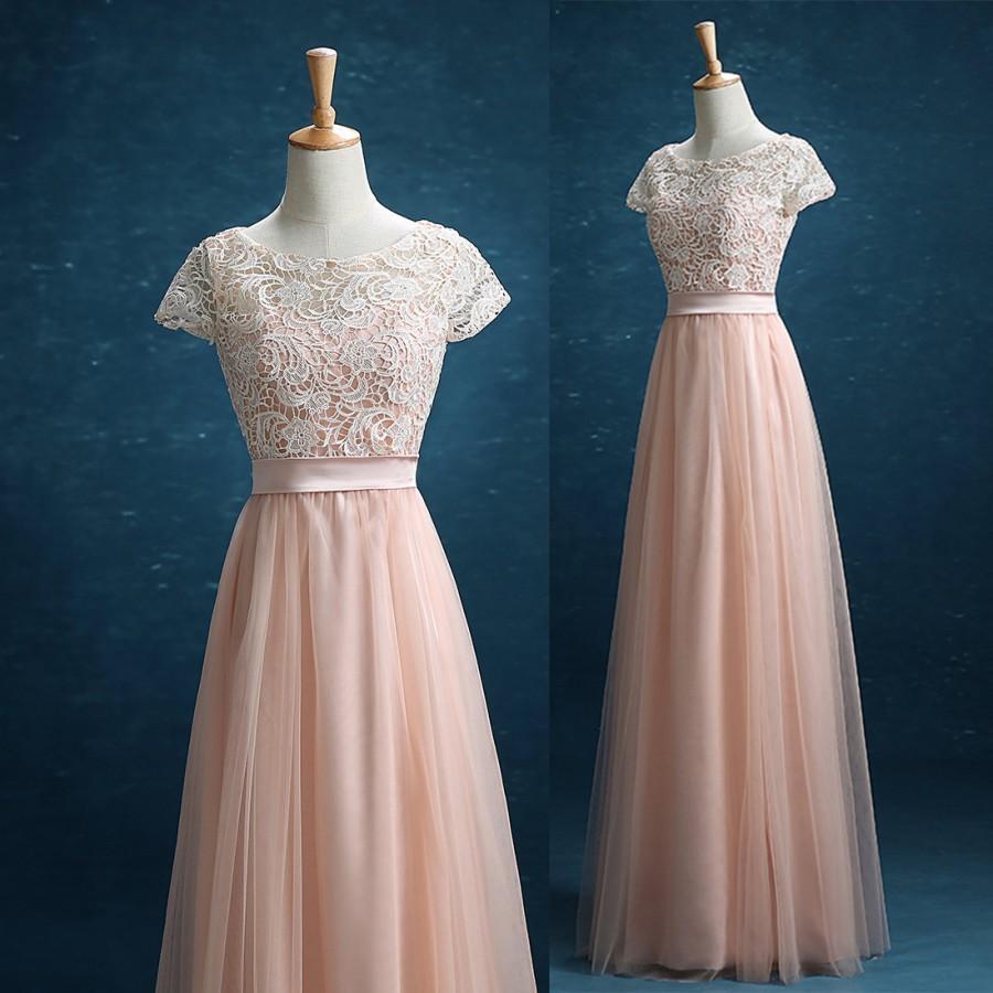 زفاف - 2016 New Prom Dress, Lace Tulle Long Prom Dress,Tulle Formal Dress, Blush Tulle Party Dress Floor Length