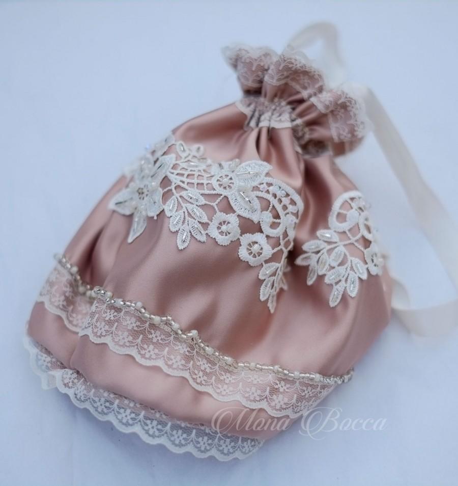 Mariage - Cappuccino ivory handmade Edwardian bag, Regency drawstring bag, Wedding bag, Regency purse, Jane Austen, beaded wedding purse, reticule