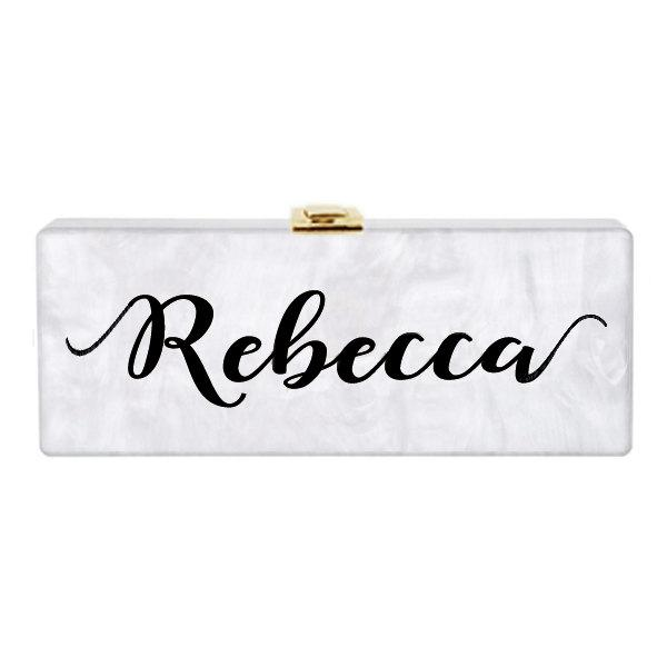 Mariage - Personalized Own Name Custom Acrylic Clutch,Bridal clutch,Evening clutch, Purse Handbag Chain Shoulder Bag