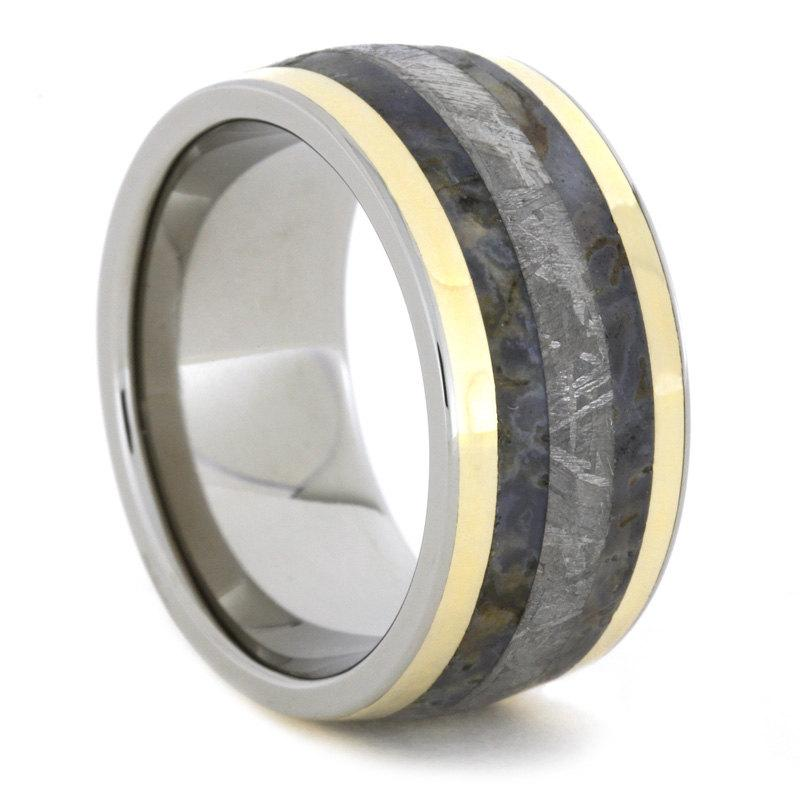 Wedding - Dinosaur Bone Ring, Gibeon Meteorite Wedding Band With Two 14k Gold Pinstripes