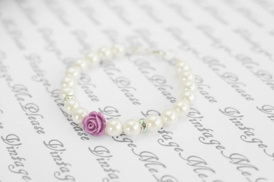 Flower Girl Bracelet Personalized Childrens Jewelry Ivory Pearl Bracelet Flower Girl Gift Infant Jewelrytoddler Bracelet Baptism Gifts