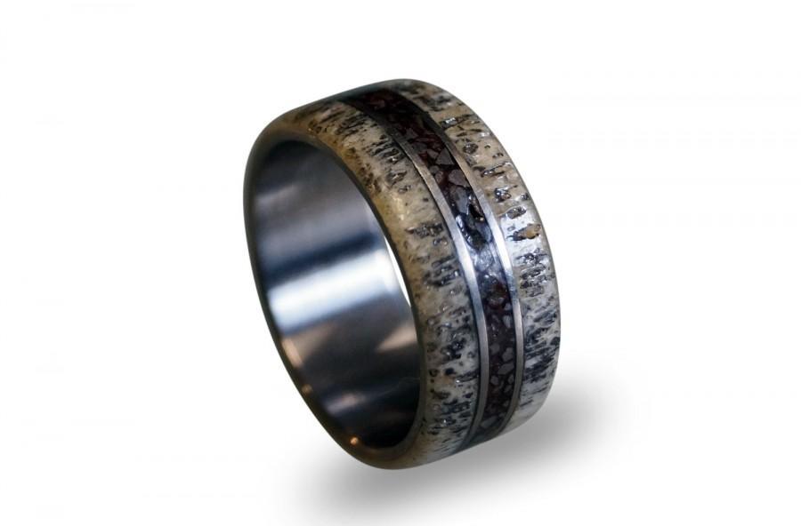 Mariage - Titanium Ring, Deer Antler Ring, Antler Men's Ring, Dinosaur Fossil Inlay