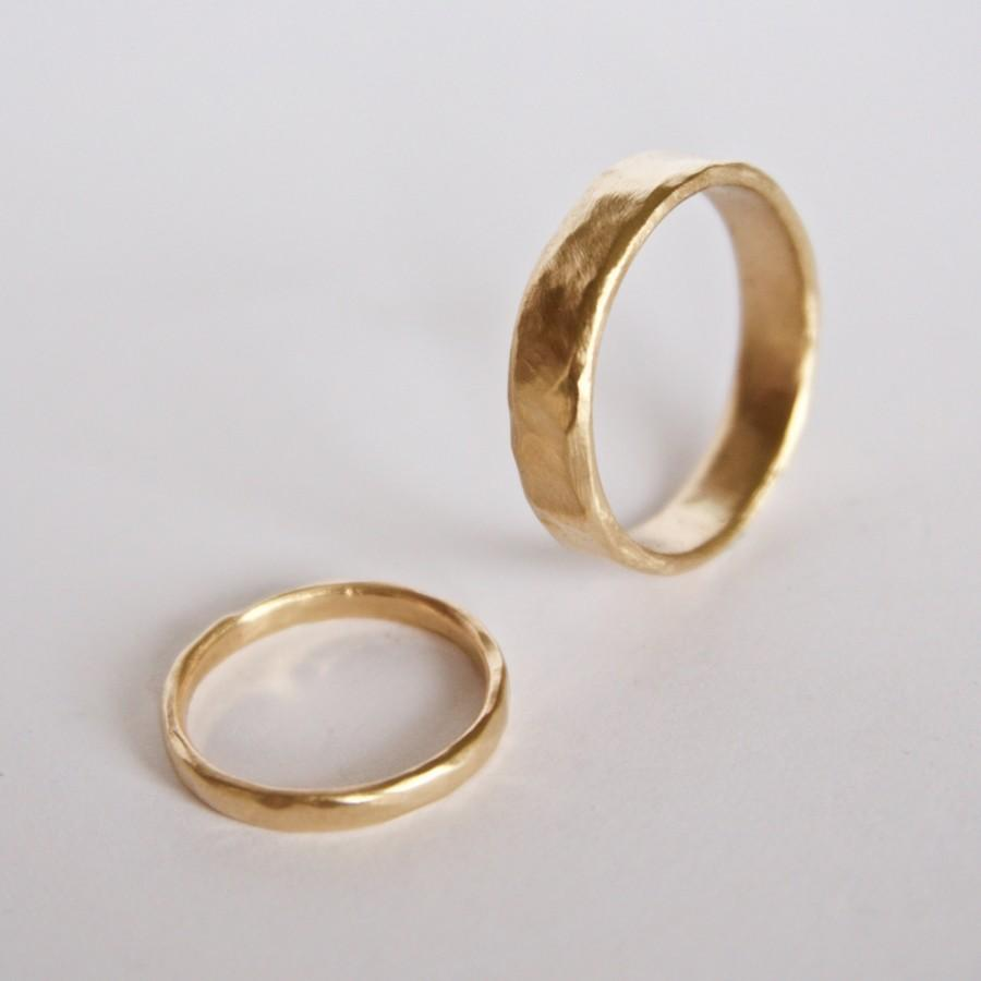 Two Organic Shape Gold Rings Wedding Ring Set Two Textured Bands