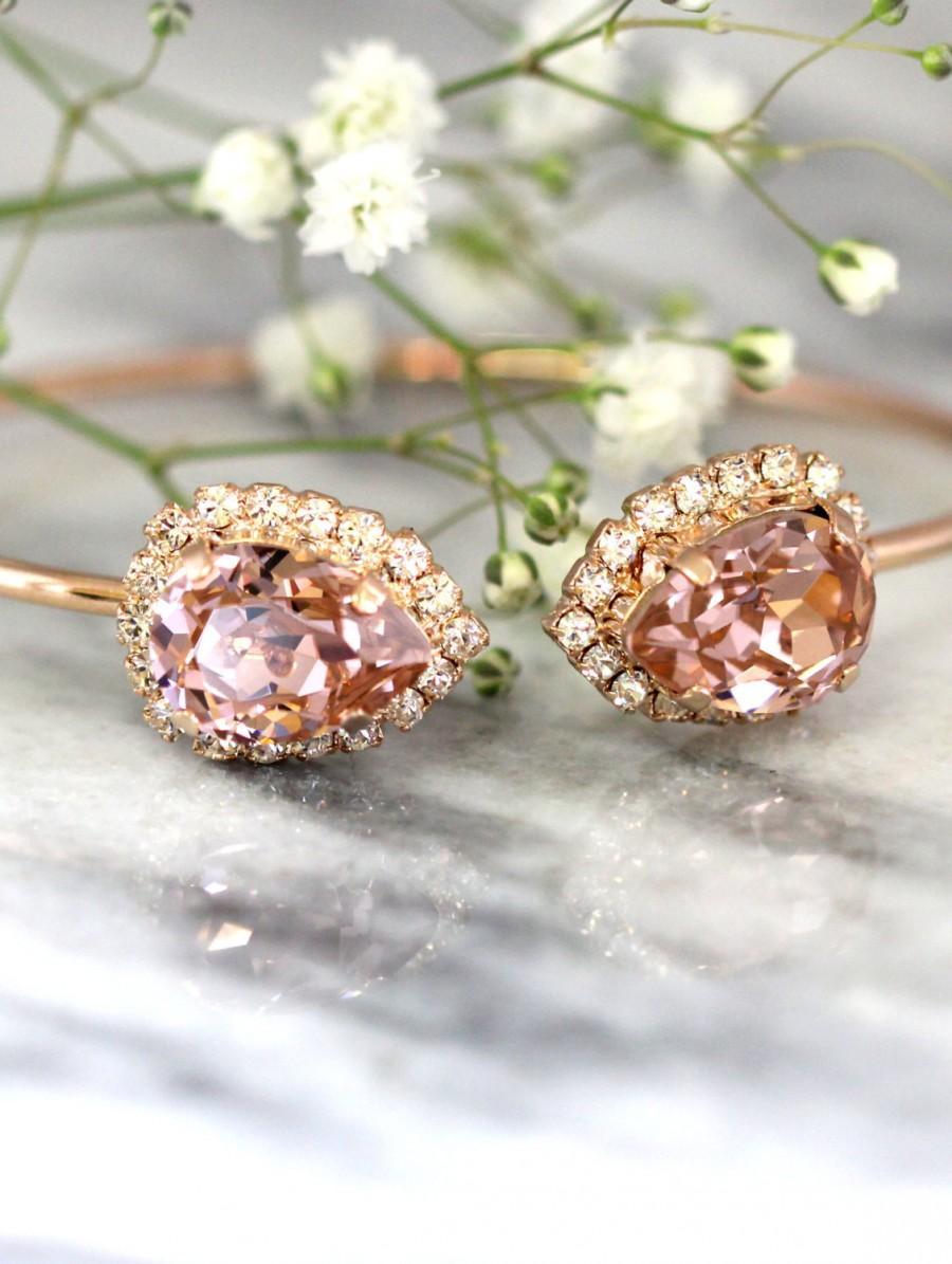 Mariage - Blush Bracelet,Blush Pink Bridal Bracelet,Bridal Rose Gold Bracelet,Bangle Gold Bridal Bracelet,Bridesmaids Gifts,Rose Gold Blush Bracelet