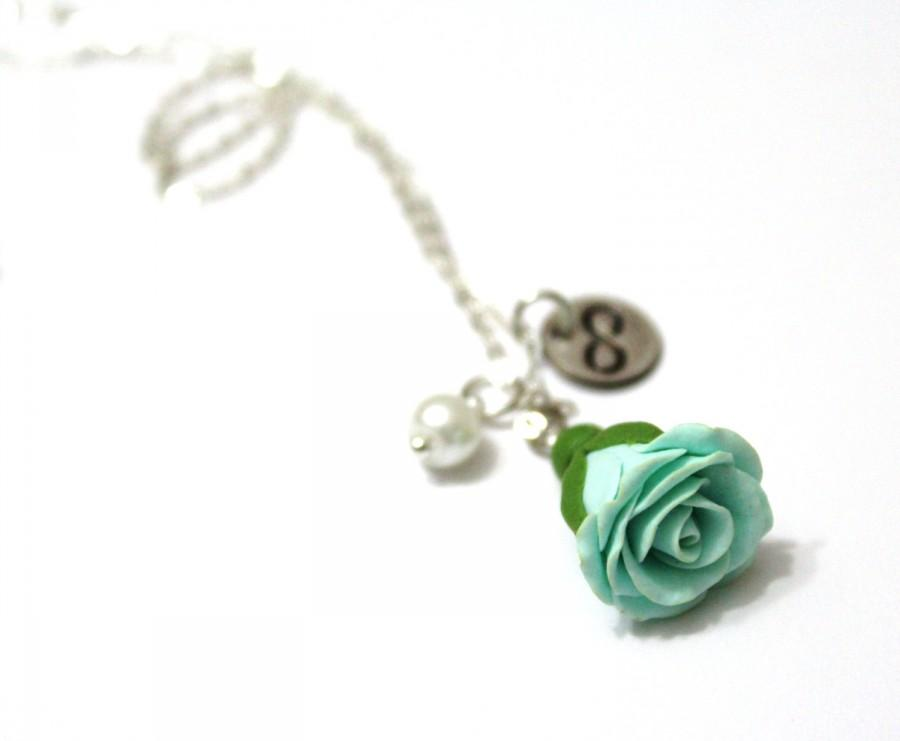 Mariage - Rosebud Infinity Necklace Mint green rose Necklace, Flower Jewelry, Infinity Necklace, Charm, Bridesmaid Necklace, Mint green Jewelry