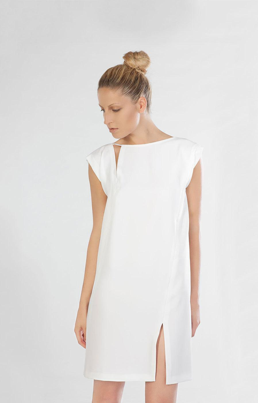 Wedding Dress Reception Alternative Beach Short Silk Tunic White