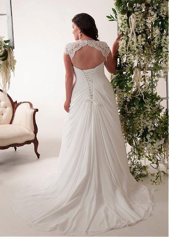 زفاف - Elegant Applique Chiffon Plus Size Wedding Dress