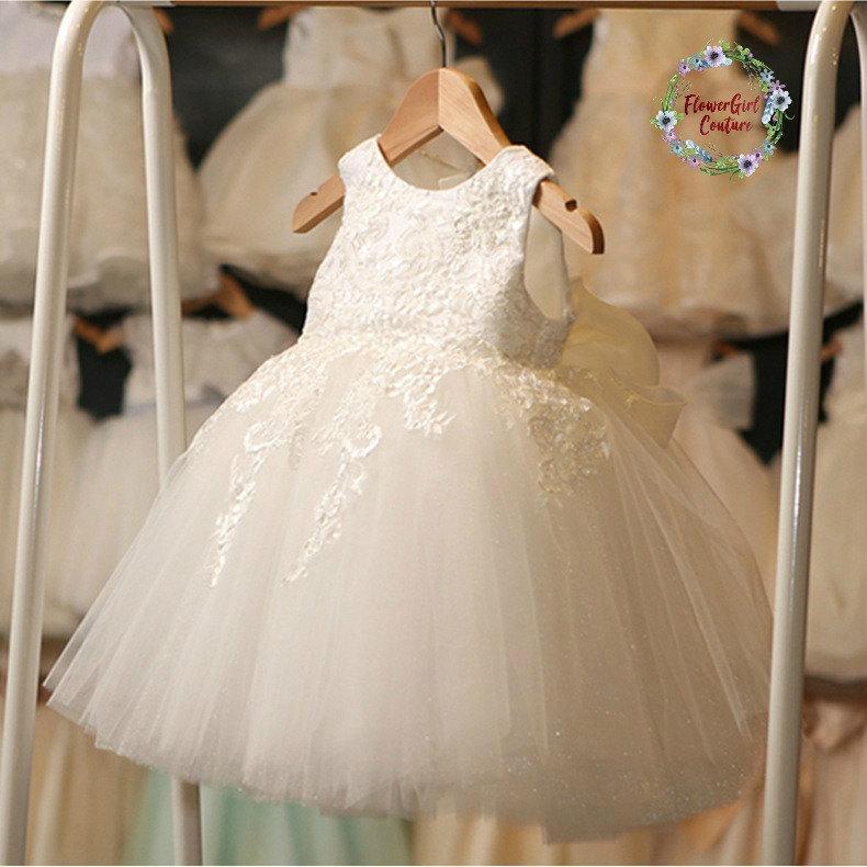 زفاف - Elegant Soft White Lace FlowerGirl, Baptism,Christening Dress