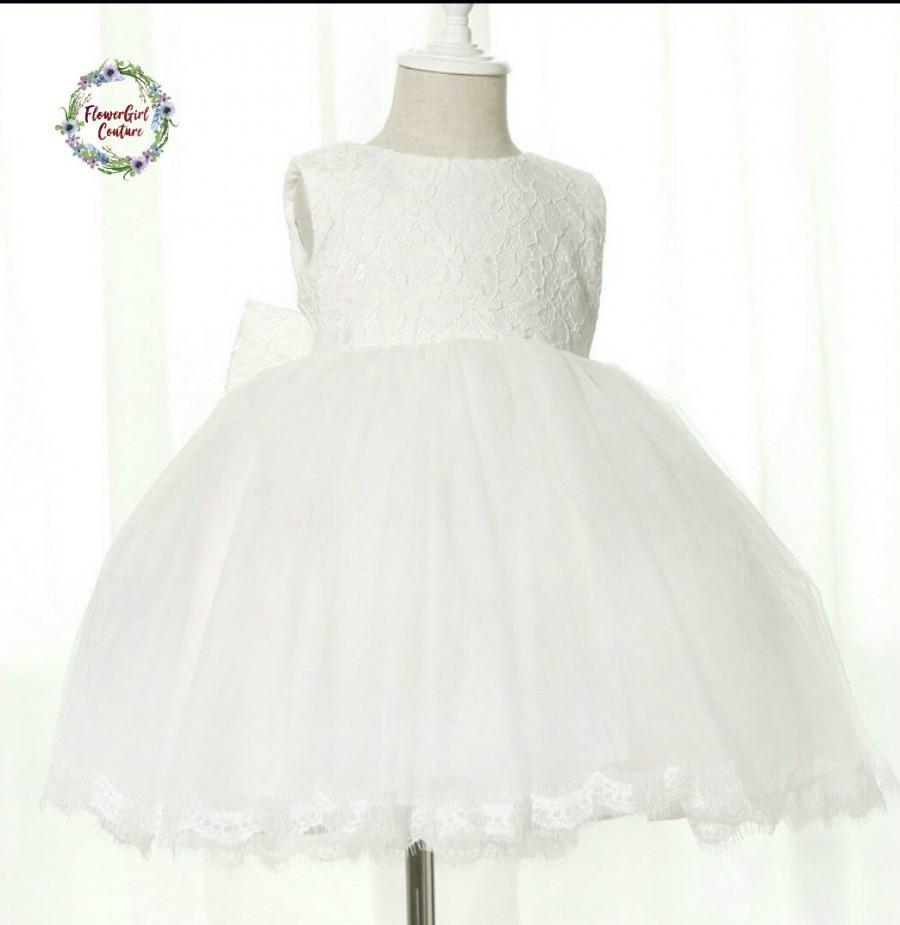 Wedding - Beautiful White Lace Girls Gown for a Flowergirl Wedding Party and Special Occasions