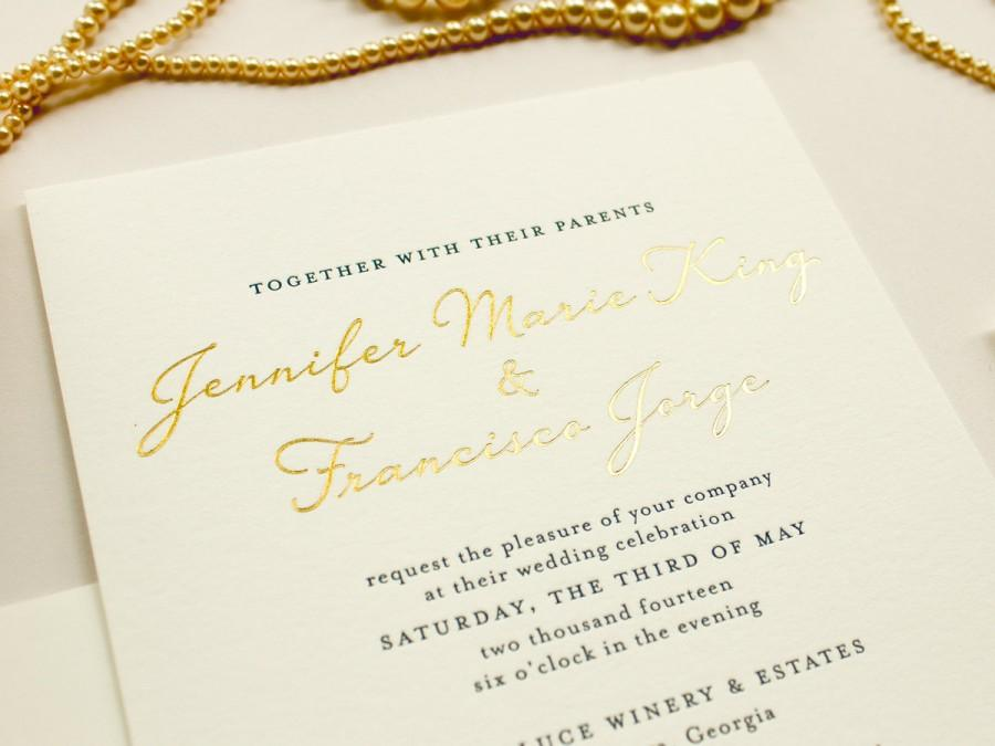 gold foil wedding invitation blind impress lace navy letterpress