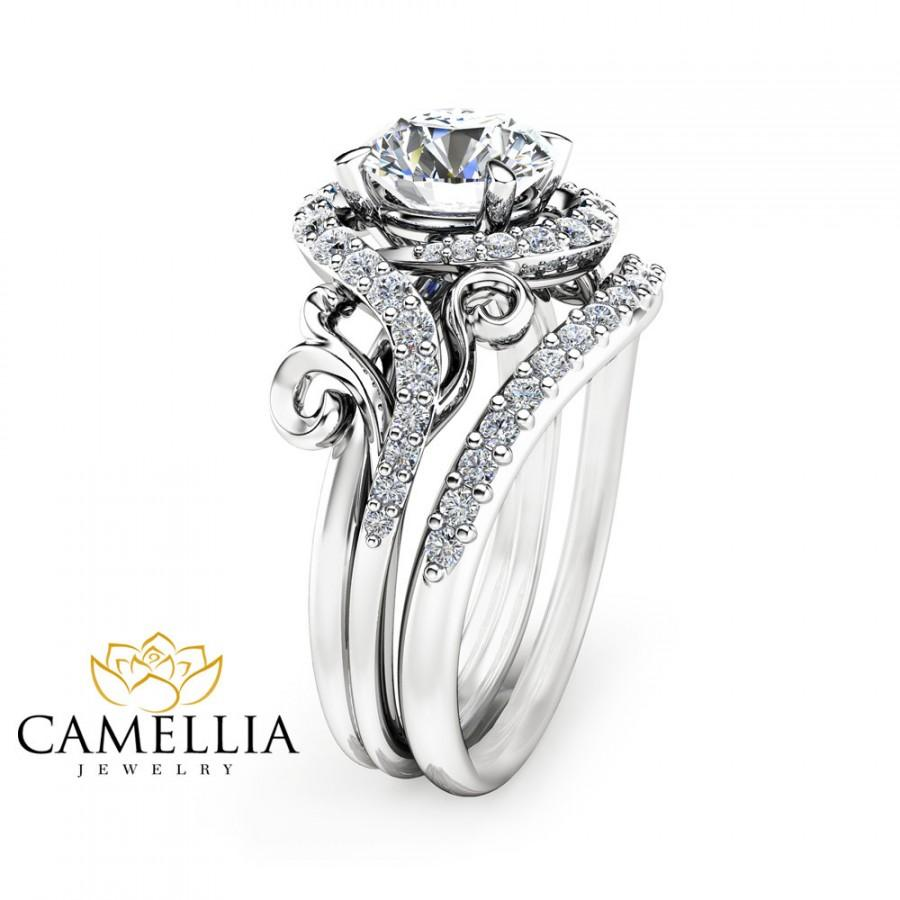 Свадьба - Moissanite Unique Engagement Ring Set 14K White Gold Engagement Rings Unique Moissanite Ring with Matching Band